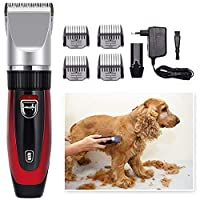 ペットグルーミングクリッパーズ、コードレス低ノイズ充電式犬猫毛トリマー、プロフェッショナルグルーミングキット、ペット用シェーバー