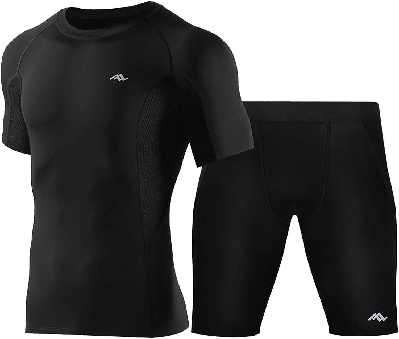 Jxfd Men's Summer Athletic Lightweight Fitness Sports Suit Shirt+Pants Set