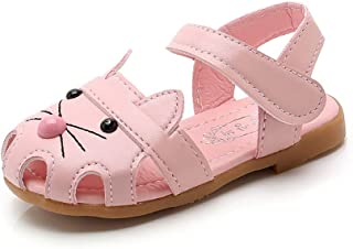 Vokamara Cat Shoes Toddler Walking Shoes Little Girl Close Toe Flat Sandals