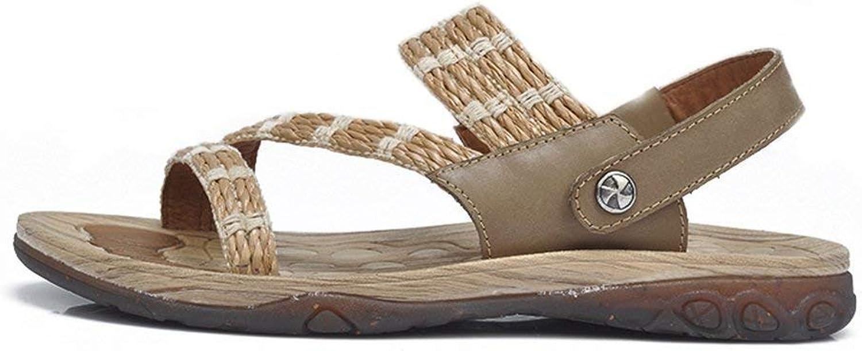 HhGold Sandalen für Männer Sommer Breathable Breathable Breathable Leder Unisex Soft Beach Casual Hausschuhe Schuhe (Farbe   Braun, Größe   9.544 EU) c5d889