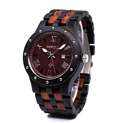 Bewell 腕時計 木製 メンズ ウッドウォッチ 天然木 腕時計 男性 クオーツ アナログ表示 日付 軽量防水 夜光 クオーツウォッチ (黒檀と赤檀)