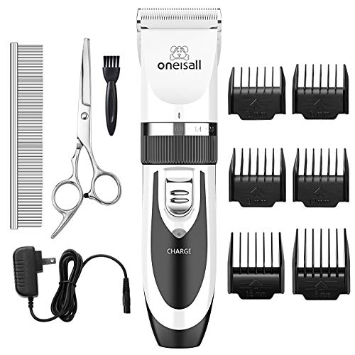 oneisall Dog Shaver Clippers Low Noise Rechargeable Cordless Electric Quiet Hair Clippers Set for Dogs Cats Pets (White)