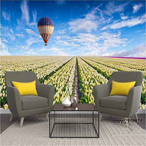 Sucsaistat 3D Desktop Hintergründe Tulip Flower Sea Heißluftballon Umweltfreundlicher Desktop Hintergrund, 200 * 140Cm