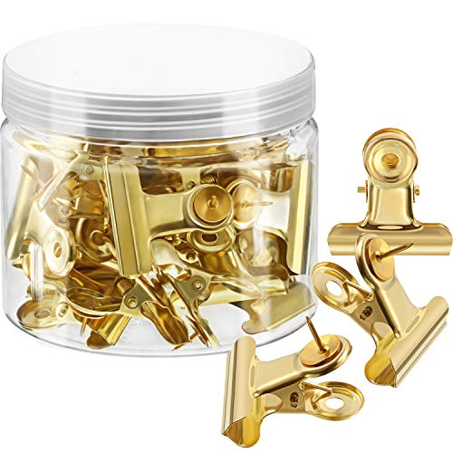 30 Pieces Push Pins Clips, Bulldog Clips with Thumb Tacks for School Artworks Projects on Cork Board, Photos Documents on Bulletin Board, No Holes for The Paper on Cubicle Walls (Gold)