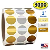 1' Gold, Silver, Bronze Round Color Coding Circle Dot Labels on a Roll, 3000 Stickers, 1000 Stickers per Roll, 1 inch Diameter.