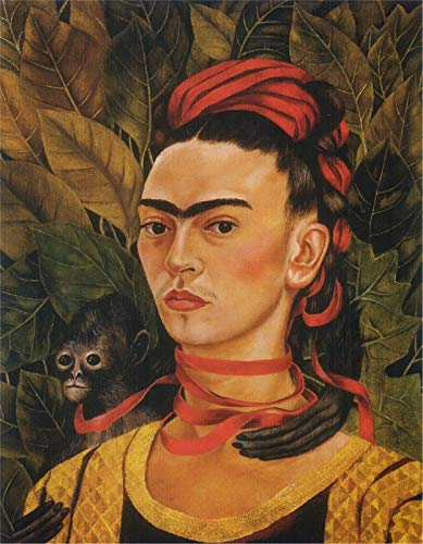 Frida Kahlo 9 self portrait with monkey 1940 - Film Filmplakat - Beste Print Kunstdruck Qualität Wanddekoration Geschenk - A4 Gemälde (12/8 inch) - (31/20 cm) - Gestreckt, fertig zum Aufhängen