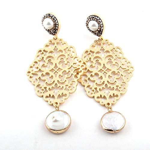 XINTIAN Pendientes de tuerca de moda con eslabones de cristal y perlas de metal (color principal: blanco, color del metal: B)