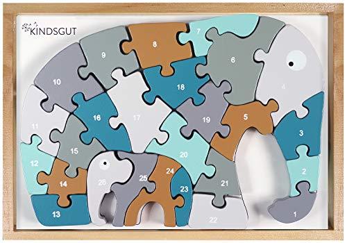 Kindsgut Puzzle in Legno con Alfabeto a Forma di Elefante, Gioco di apprendimento