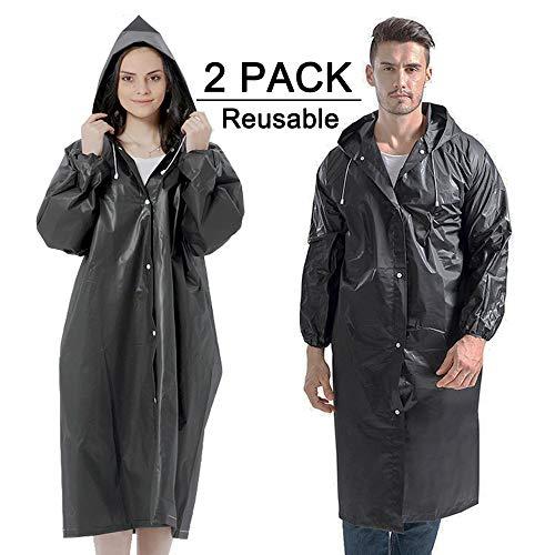 Cosowe regenponcho voor dames en heren, herbruikbare regenjas voor volwassenen, 2 stuks waterdichte regenjassen met capuchon en elastische mouwen, Eva regencape voor outdoor-activiteiten