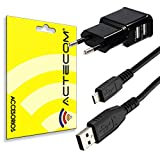 actecom® Cargador Enchufe Pared Doble + Cable Micro USB CASA MOVIL Tablet
