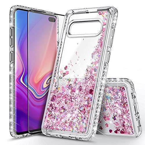 E-Began Schutzhülle kompatibel für Samsung Galaxy S10, mit Displayschutzfolie (maximale Abdeckung, flexible TPU-Folie), glitzernde Flüssigkeit fließend Treibsand Diamant, für Frauen und Mädchen