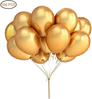 Angoter 100 Colores metálicos PCS Grueso Bolas de Aire inflables Brillantes de Metal de Perlas de látex Globos de cumpleaños Festival Party Decor