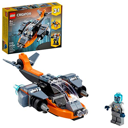 LEGO Creator 3in1 Cyber Drone 31111 3in1 Toy Building Kit Featuring a Cyber Drone, Cyber Mech and Cyber Scooter, New 2021 (113 Pieces)