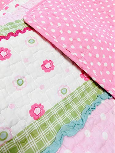 Cozy Line Home Fashions Pink Greta Pastel Polka Dot Flower 100% Cotton Reversible Quilt Bedding Set, Coverlet, Bedspreads (Twin - 2 Piece: 1 Quilt + 1 Standard Sham)