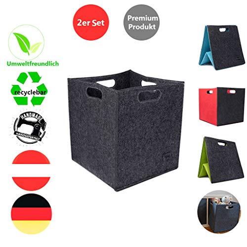 Filzbox 2er Filzkörbe Set 33x33x33cm Regalkorb mit 4 Griffen in 4 tollen Farbkombinationen aus Recyclingmaterial