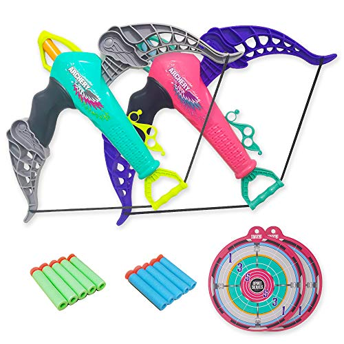 Surper 2 Pcs Toy Bow and Arrow Set for Kids, 10 Foam Darts with Suction Cup, Indoor Outdoor Toys for Boys and Girls, Birthday Children's Day Gift, Compatible with nerf Darts