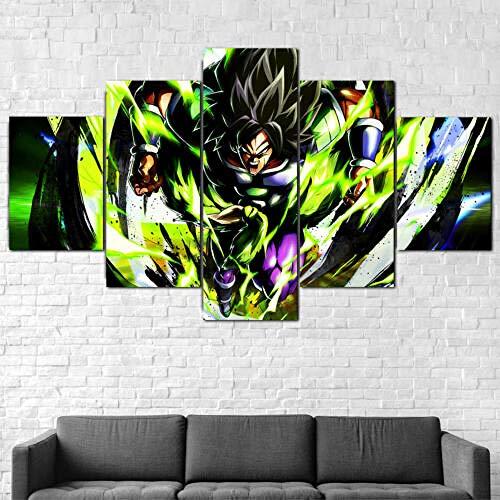 Cuadro sobre Impresión Lienzo 5 Piezas -Mural Moderno 5 Piezas,Dragon Ball Super Broly Anime Dormitorios Decoración para El Hogar -No Tejido Lienzo Impresión- Modular Poster Mural-Listo para Colgar