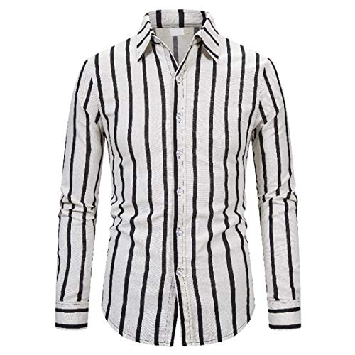 Mens Casual Shirt Long Sleeve Button Down Shirts Formal Business Shirts or Daily Stylish Wear Classic Design Stripe Shirt School Working Office Comfy Shirts Top L