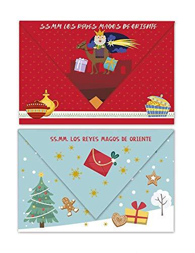 Blister 3 cartas de Reyes- Carta a reyes magos forma sobre, 13,3 x 19,1 cm- Arguval