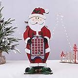 Yangyang Decoración navideña Calendario de Adviento Santa muñeco de Nieve Elk Calendario de Madera Decoración Hogar Café Decoración de Escritorio Escena Vestir Props,Santa Claus