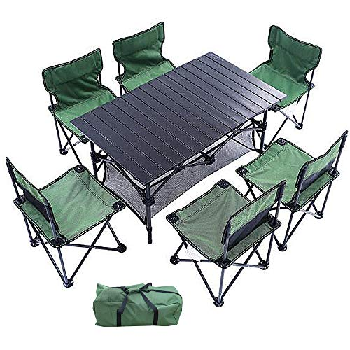 HUOFEIKE Outdoor-Camping-Tisch Und Stuhl Kombination 7-Teiliges Set, Einfache Reise Klappstuhl Campingmöbel Mit Tragetasche Fit for Self-Driving Garten Grillparty Strand-Ferien