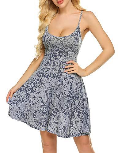 UNibelle Damen Nachthemd Nachtkleid Ärmellos Schwangerschaft Kleid Baumwolle Sexy Negligee Sleepwear V Ausschnitt Unterkleid Navyblau XXL