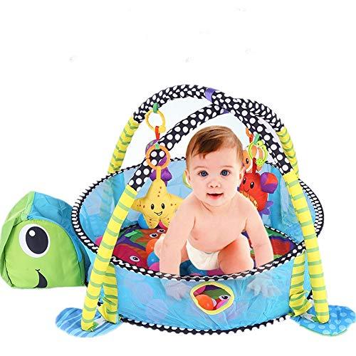 lyrlody 3-in-1 Kuscheldecke Löwe/Schildkröte Krabbeldecke Baby Spielmatte Spielbogen mit abnehmbaren Spielbogen und Bällen, Spieldecke für Kinder Alter 3~12 Monate (Schildkröte)