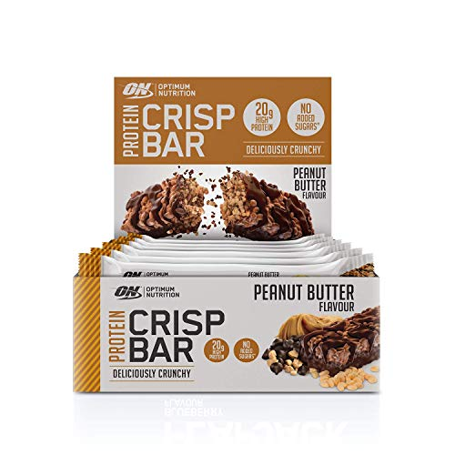 Optimum Nutrition Protein Crisp Bar with Whey Protein Isolate, Low Carb High Protein Snacks with No Added Sugar, Peanut Butter, 10 Bar (10 x 65 g)