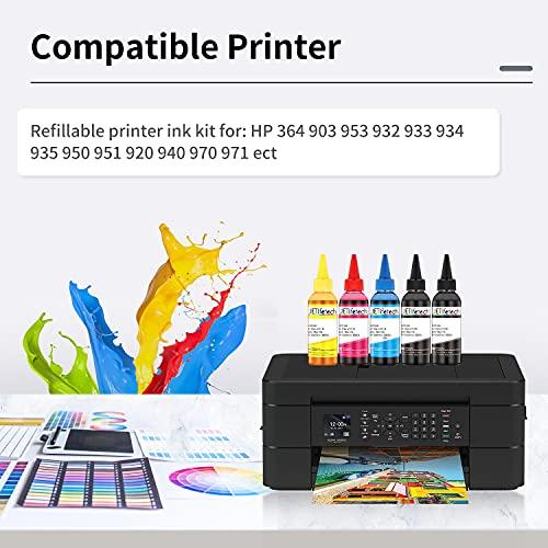 JETlifetech 4 colores Universal Kit de recarga de tinta para HP Cartuchos de tinta recargables y sistemas CISS, 100 ml por botella de tinta, 5 botellas (2 negras / 1 cian / 1 magenta / 1 amarilla)