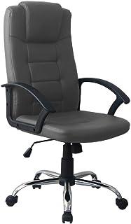 Piushopping Sillón para oficina, silla ergonómica, con soporte lumbar, reposabrazos, revestimiento de piel sintética - 40 x 65 x 76 h (gris)