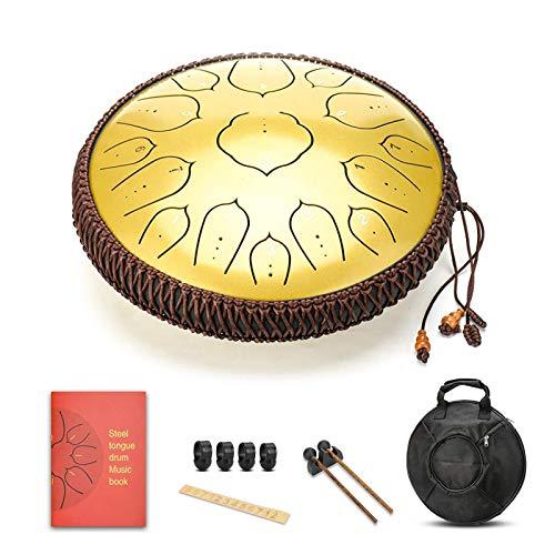 14 pulgadas 15 Ton D Steel Tongue Drum Pan Drum Instrumento de percusión Handpan Tambor con palos para meditación Yoga Sound Healing Rojo, Cobre, Plata, Oro, Verde, Azul (opcional)
