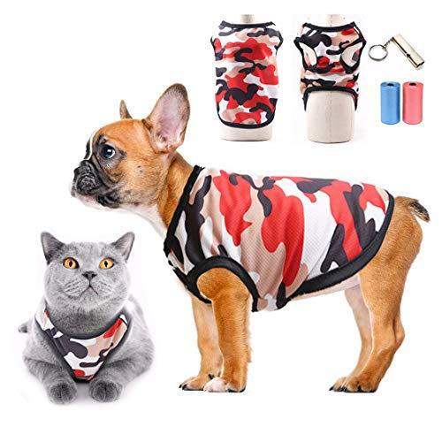 TVMALL Mascota Perro Camiseta perrito ropa para gatos camisas deportivas de camuflaje malla de verano Chaleco Transpirable abrigo de moda ropa de playa Adecuado para perros y gatos pequeños (R