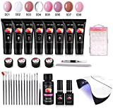 Ongles UV GEL Kit, MYSWEETY 15 ml 8 Couleurs Gel Vernis à Ongles Prolongateur Complet, avec 36W Lampe UV/LED, Base Coat et Top Coat, Slip Solution