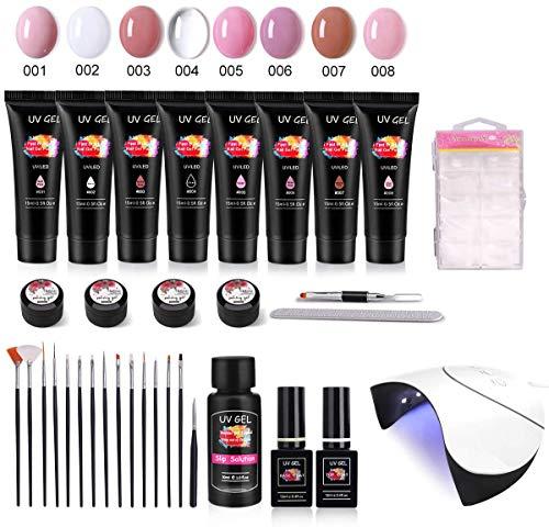 UV GEL Nagellack Set, MYSWEETY 15ml 8 Farben Nagel Gel UV Rosa Nagelverlängerungsgel für Anfänger...