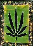 ICC Marihuana-Blatt-Poster, Marihuana-Flagge, Topfblatt-Poster, Rasta-Blatt-Poster, Topfblatt-Poster, Ganja-Blatt-Poster, Tapisserie, Marihuana-Blatt-Wandteppich, Poster, 76 x 101 cm, Grün