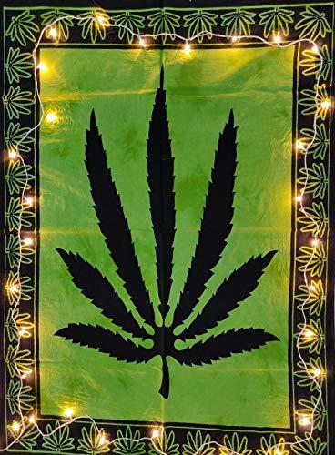 Indian Craft Castle - Affiche murale colorée à motif feuille de marijuana (76 x 102 cm) poster 30x40 inches vert