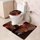 NHSY 180 x 180 cm, 3 unidades, diseño de leopardo, flor de leopardo, con 12 ganchos, cortina de baño, alfombra de baño, juego de 3 piezas