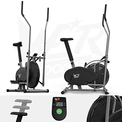 We R Sports® 2-IN-1 Elliptical Cross Trainer & Exercise Bike Fitness Cardio Workout With Seat (Silver)