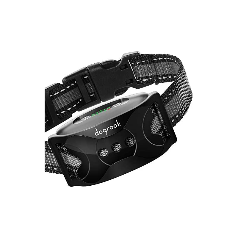 dog supplies online dogrook rechargeable bark collar for dogs, humane training collar with vibration and beeps modes, no shock, works without remote for all breeds of small, medium and large dogs