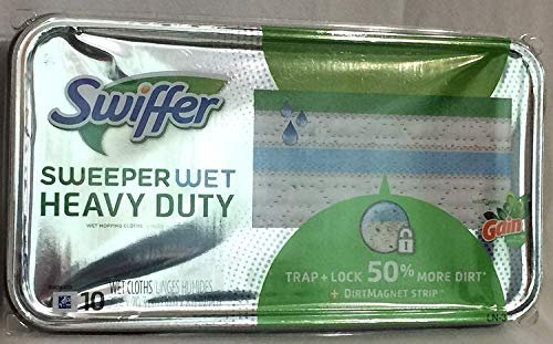 Swiffer Sweeper Wet Heavy Duty with Gain, 10 Wet Cloths (Pack of 2)