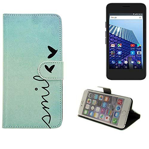 K-S-Trade® Schutzhülle Für Archos Access 45 4G Hülle Wallet Case Flip Cover Tasche Bookstyle Etui Handyhülle ''Smile'' Türkis Standfunktion Kameraschutz (1Stk)
