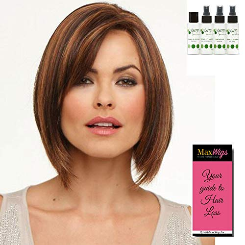 Kimberly Wig Color CHOCOLATE CHERRY - Envy Wigs 9' Long Angled Bob Side Swept Bangs Synthetic Lace Front Monofilament Top Womens Textured Layers Peluca Bundle Travel Kit, MaxWigs Hairloss Booklet