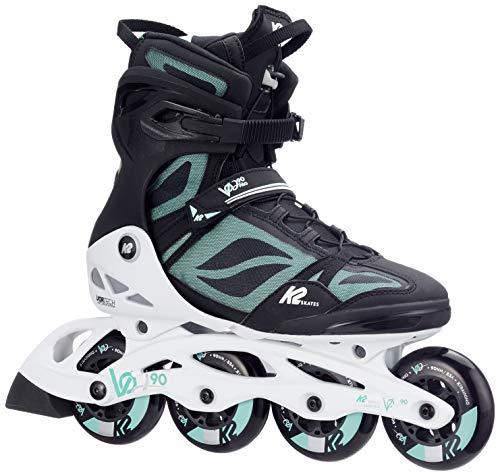 K2 Damen Fitness Inline Skates VO2 90 Pro W - Schwarz-Weiß-Grau - EU: 39 (US: 8 - UK: 5.5) - 30C0016.1.1.080