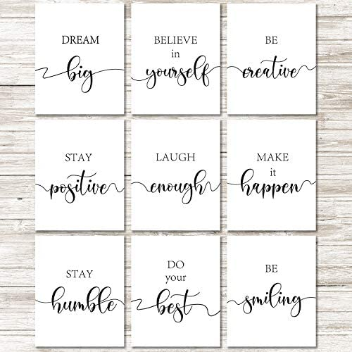 9 Pieces Inspirational Quote Wall Art Posters Motivational Quote Phrases Art Print Poster Unframed product image
