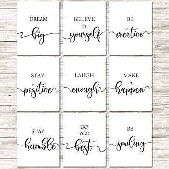 9 Pieces Inspirational Quote Wall Art Posters Motivational Quote Phrases Art Print Poster Unframed Positive Posters for Office or Living Room Home Decoration Black and White