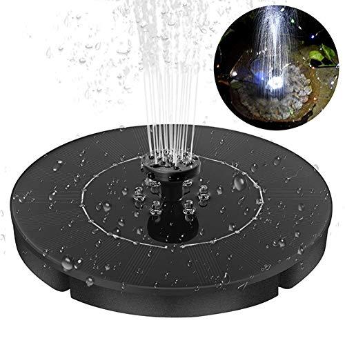 Fonteinpomp op zonne-energie voor vogels 2,5 W met LED voor het verfraaien van vogelbaden, vijver, zwembad, terras, gazon, tuin (LED rond)