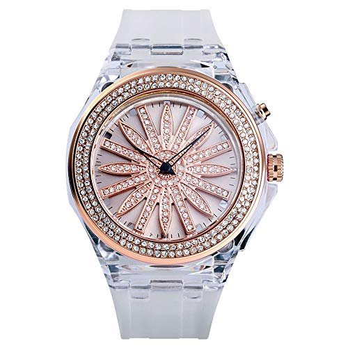 Relojes De Pulsera Personalizados para Mujer, Pulsera De Esqueleto De Cuarzo Analógico con Correa De PU Transparente, Esfera Iluminada por Led para Decoración De Moda para Mujer