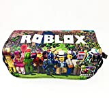 Game Roblox Estuche de lona con cremallera,Juego de mundo virtual Estuche de lápices Gran capacidad Bolsa Doble cremallera Oficina Bolígrafo Organizador Bolsa de papelería