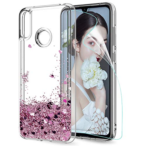 LeYi Case for Huawei Y7 2019 with Screen Protector, Girl Women 3D Glitter Liquid Cute Luxury Personalised Clear Silicone Gel TPU Shockproof Phone Cover for Huawei Y7 2019 Rose Gold (Pink)