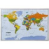 Tableau en liège carte du monde XXL avec 12 aiguilles de marquage 90 x 60 cm...